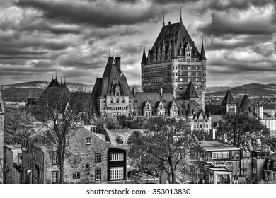 Old Quebec. Dramatic sky.  Black and white HDR (high dynamic range)