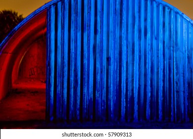Old Quonset Hut in Red & Blue