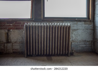 Old Radiator against windows