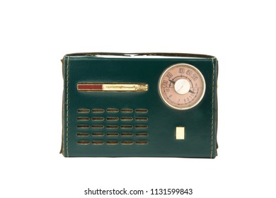 old radio of the 50-60s with a circular dial