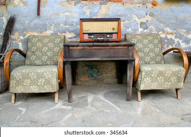 old radio and chair