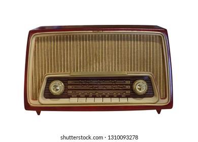 old radio isolated on white background