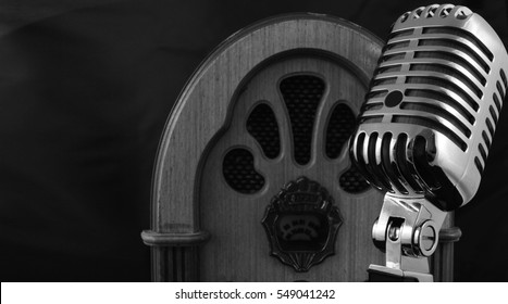 old radio and microphone