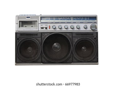 old radio on white background