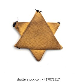 Old rag real jewish six-pointed  stripe star from the ghetto
