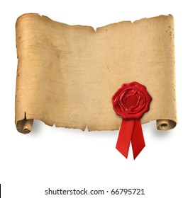Old ragged parchment roll with red wax seal