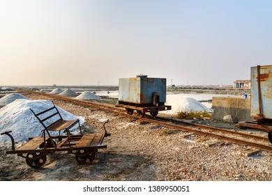Old railcars on narrow gauge railway at Sambhar Salt Lake. Rajasthan. India