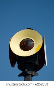 An old railroad signal light