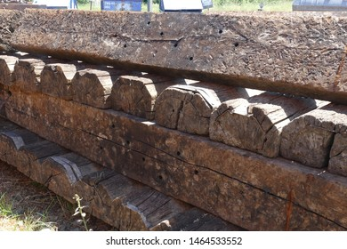 Old railroad sleeper texture background - railroad station in the city Knittelfeld, federal state of Styria, Austria