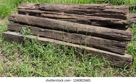 Old railroad sleeper, Unused old wooden sleepers for railway.
