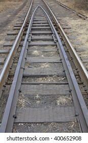 Old railroad tracks, closeup of photo