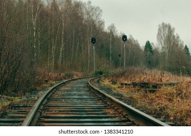 Old railroad tracks in the forest, turn of the road, red stop-signals on traffic lights, beautiful railway landscape, autumn. Unused route, abandoned place. Industrial background, cloudy sky