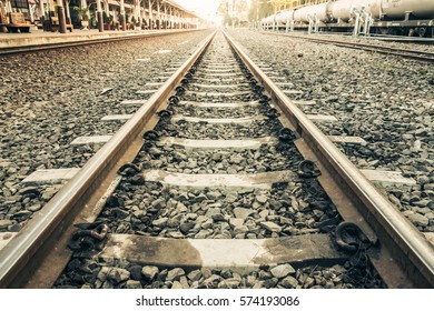 Old railroad tracks at train station