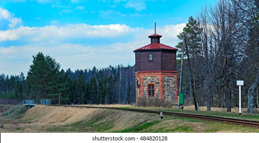Old railroad water tower for steam locomotive in Latvia