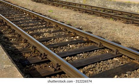 Old rails on the platform