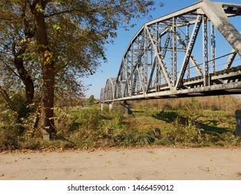 Old railway bridge over the river
