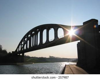 Old railway bridge with sunshine