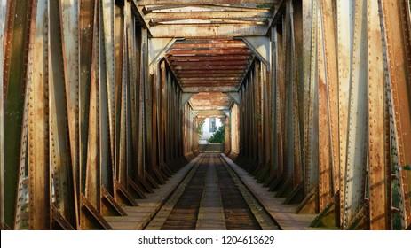 Old railway bridge in Trencin over the river Váh