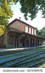 Old railway station in Kalavryta Greece 2017