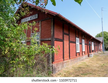 """Old railway station Klatovy. Translation on the tittle on the building  """"Klatovy city""""."""