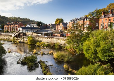 Old railway station museum and the beautiful town of Llangollen, Wales, UK