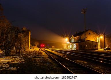 Old railway station at night, North Bohemia (Hodkovice nad Mohelkou, Czech Republic)