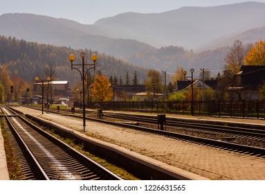 old railway station at sunrise. beautiful scenery in mountains. location Karpaty, Yaremche, Ukraine.