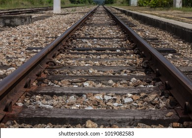 Old railway track in perspective view
