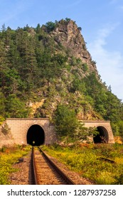 Old railway tunnel passing through Cozia mountains in Valcea county, Romania.