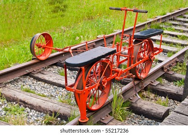 Old railway two-seats pump trolley