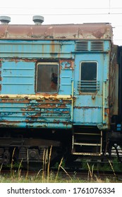 Old railway wagons,abandoned old railway wagons at station. Old train wagons