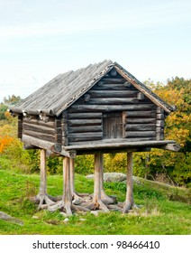 old raised wooden house outside