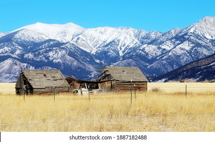 Old ranch barn and house in Montana