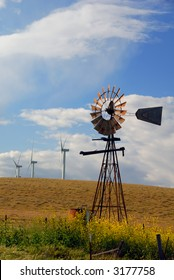Old Ranch Windmill Contrasted Against New Electrical Power Generating Windmills, Digital Velvia, Rio Vista, California