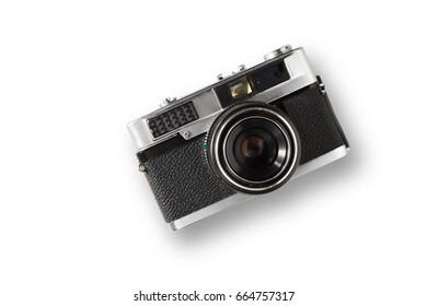 Old rangefinder vintage camera on white background