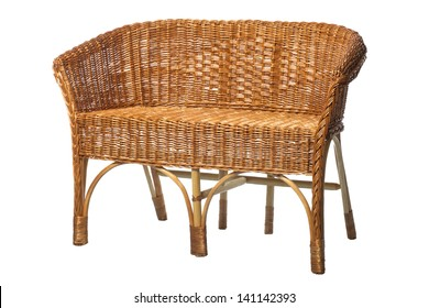 Old rattan sofa isolated on white, hand made