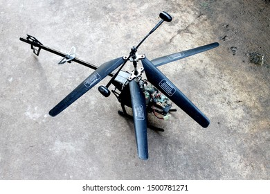 Old RC helicopter to ground damage.