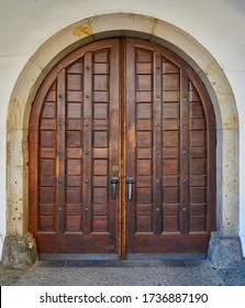 Old reconstructed doors with door frame from czech medieval castle