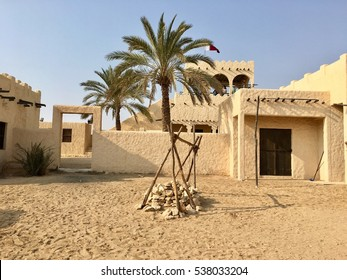 An old reconstructed village with a water well in an deserted Arab village, Zekreet, Doha, Qatar