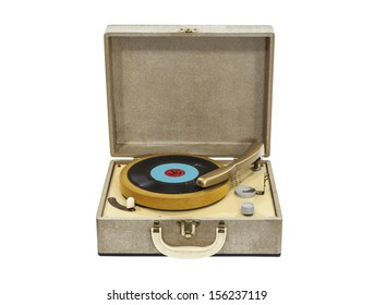 Old record player from the 1960s isolated with clipping path.