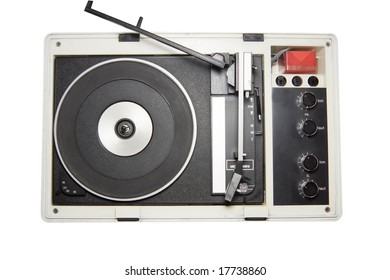 Old record player isolated on white with clipping path