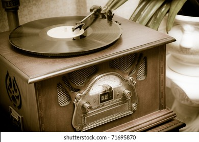 Old record player in the room