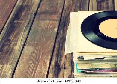 old records stack. vintage filtered