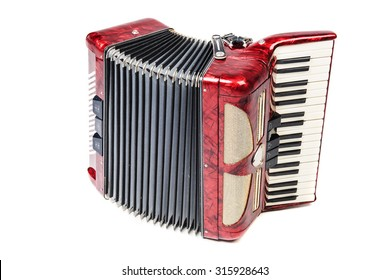 Old red accordion isolated ona  white background