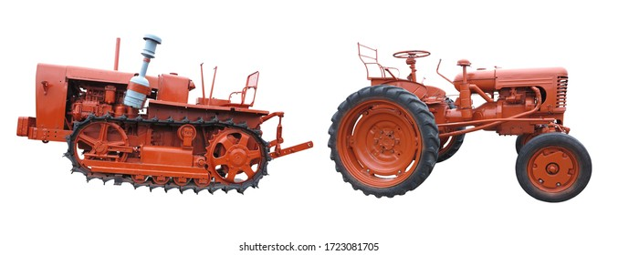 Old red agricultural tractors isolated over white background