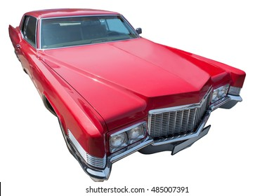 old red American car is isolated on the white