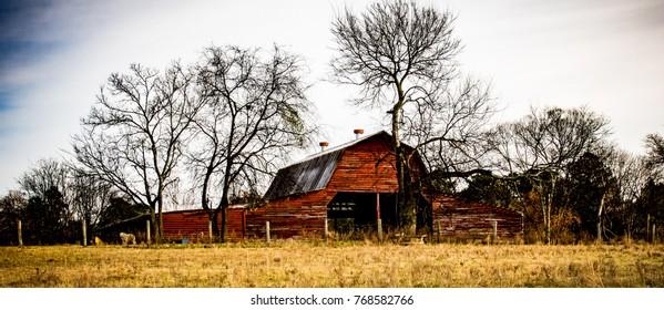 An old red barn along the path. Wade Mountain. Devil's Racetrack Trail. Near Huntsville, Alabama.