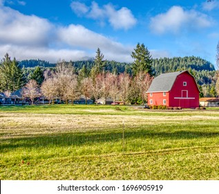 Old red barn on a farm in Oregon.