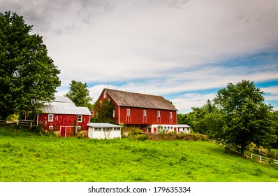 Old red barn on a farm in rural York County, Pennsylvania.