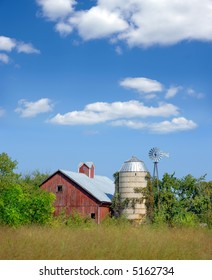 Old red barn and silo in Wisconsin.